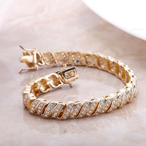 18kt Yellow Gold Plated Simulated Diamond Tennis Bracelet