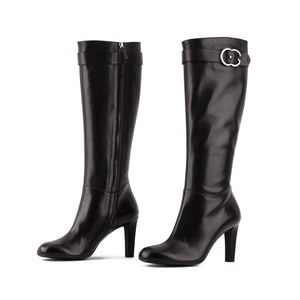 GUCCI GG BUCKLE KNEE-HIGH BOOTS