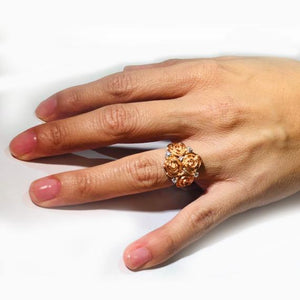 Crafted Sterling Silver and Rose Gold Plated Ring with Cubic Zirconias