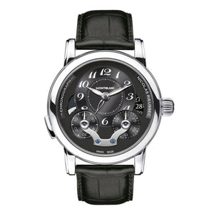 MONTBLANC NICOLAS RIEUSSEC STAINLESS STEEL/LEATHER STRAP 43MM CHRONOGRAPH