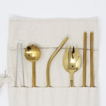 Load image into Gallery viewer, 7 Pieces Portable Travel Cutlery Set Gold