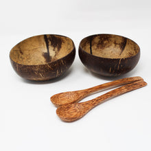 Load image into Gallery viewer, Natural Coconut Bowls with Light Spoons