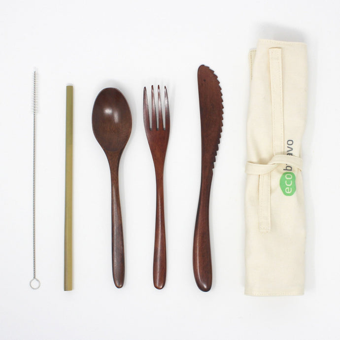 5 Pcs Reusable Bamboo Cutlery Travel Set (Dark)