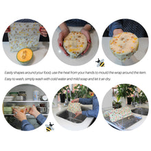 Load image into Gallery viewer, Reusable Beeswax Food Wraps - Set of 4