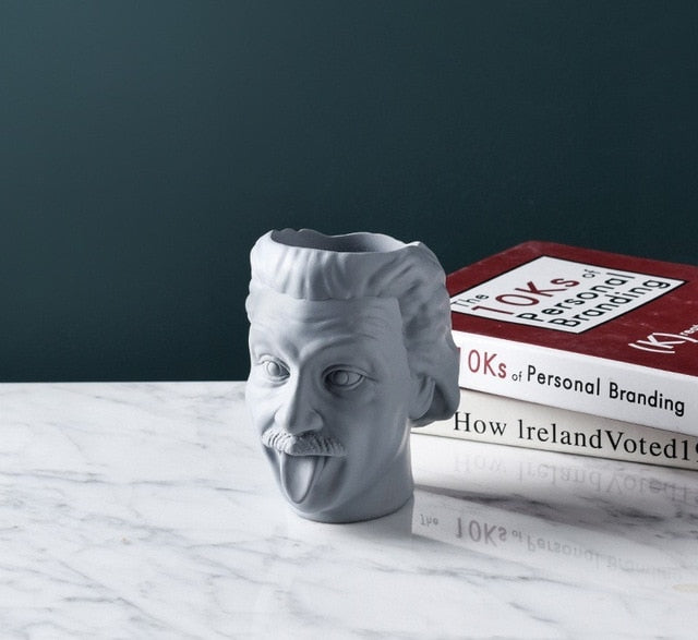 Einstein Portrait Vase Character Sculpture