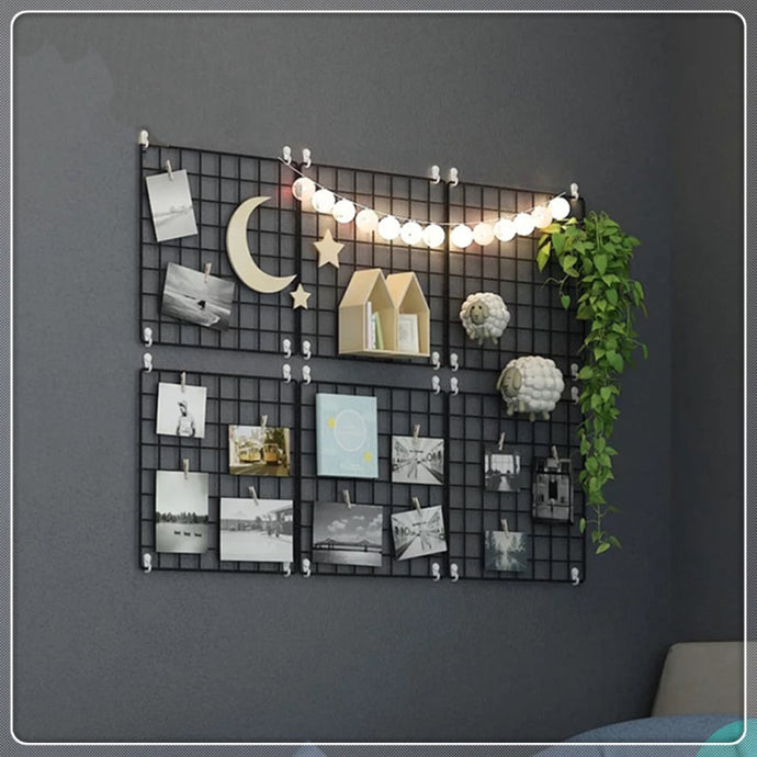 Black Metal Wire Wall Grid Memo Board + 10pcs Wooden Clips