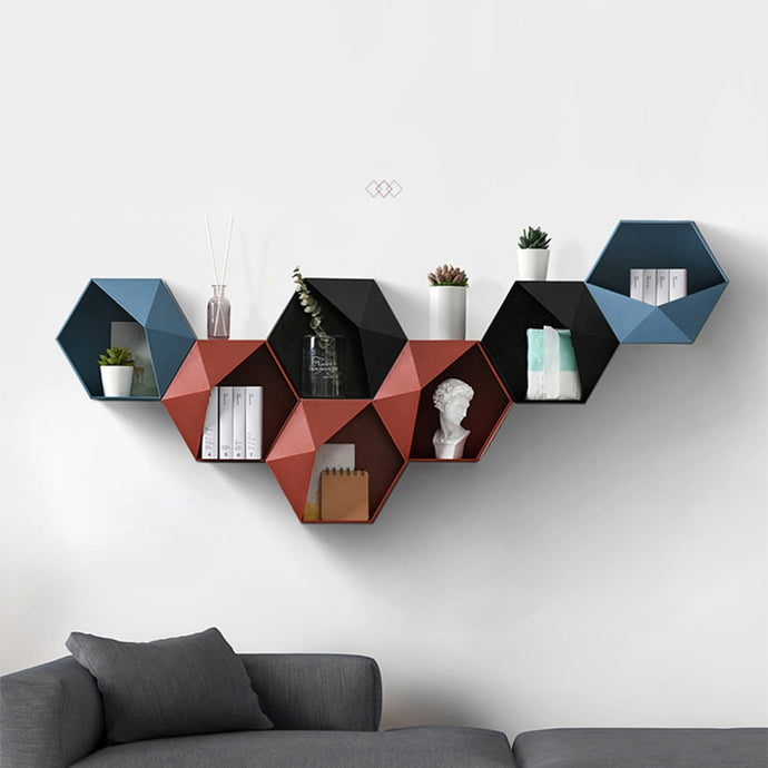 Nordic Hexagon Wall Storage Rack