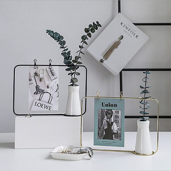 Creative Iron Art Vase with Postcard Holder