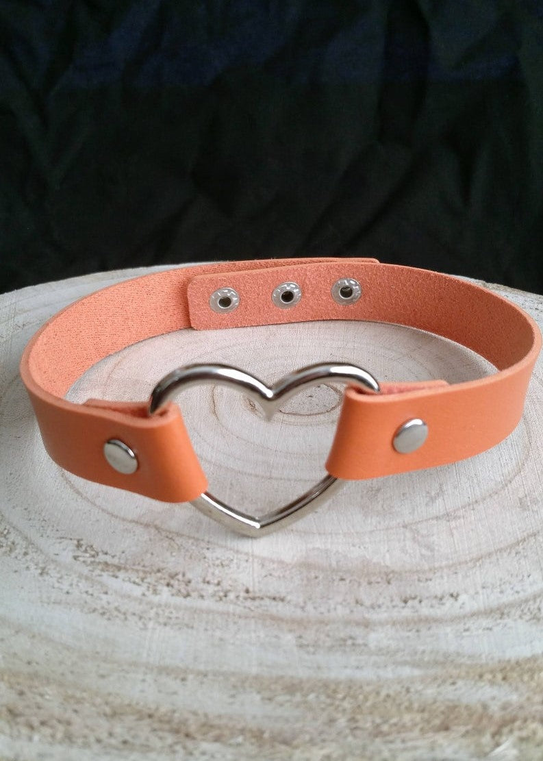 Orange Heart Choker