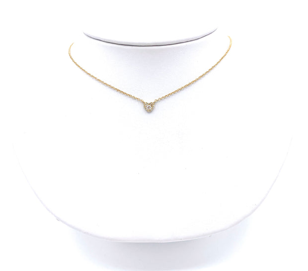 Diamond Heart with Center Diamond  Necklace