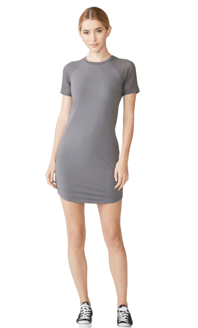 Mesh Mix Short Sleeve Dress - RainTree Boutique