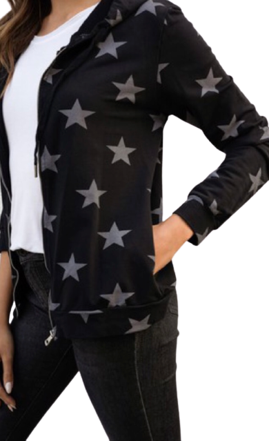 All Over Star Printed Zip Hoodie