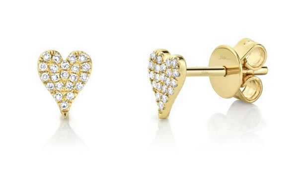 Paved Diamond Heart Stud Earrings
