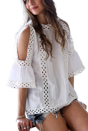 Lace Trimmed  Cutout Shoulder Top
