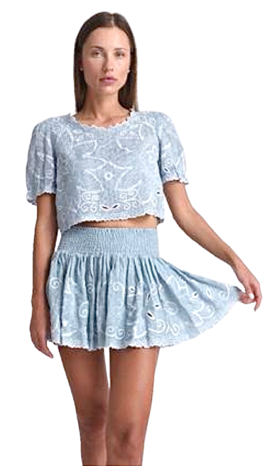 Mika Embroidery Mini Skirt