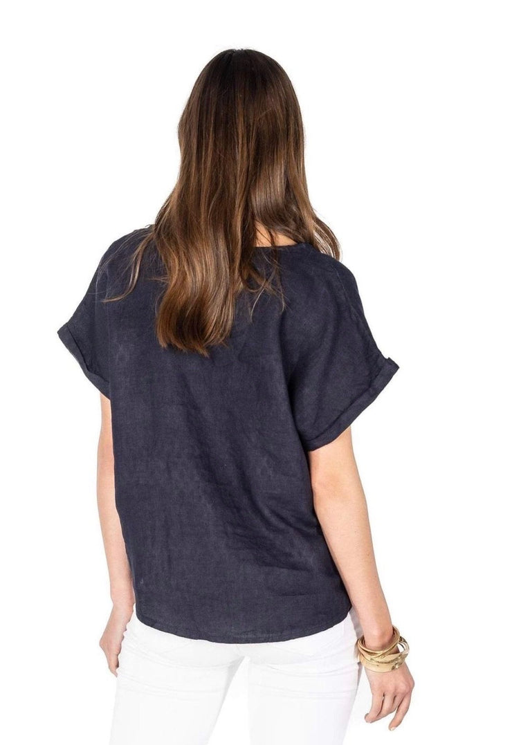 Andrea V Neck Linen Top - RainTree Boutique