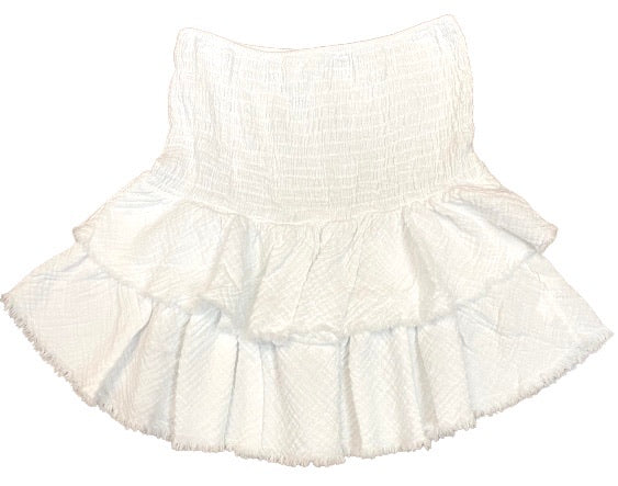 Cotton Linen Ruffle Mini Skirt