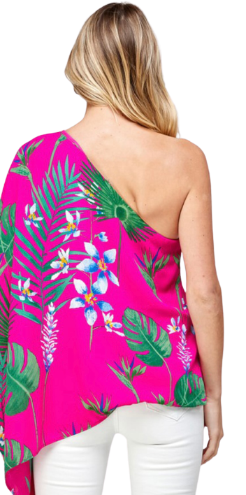 One Shoulder Tropical Print Top