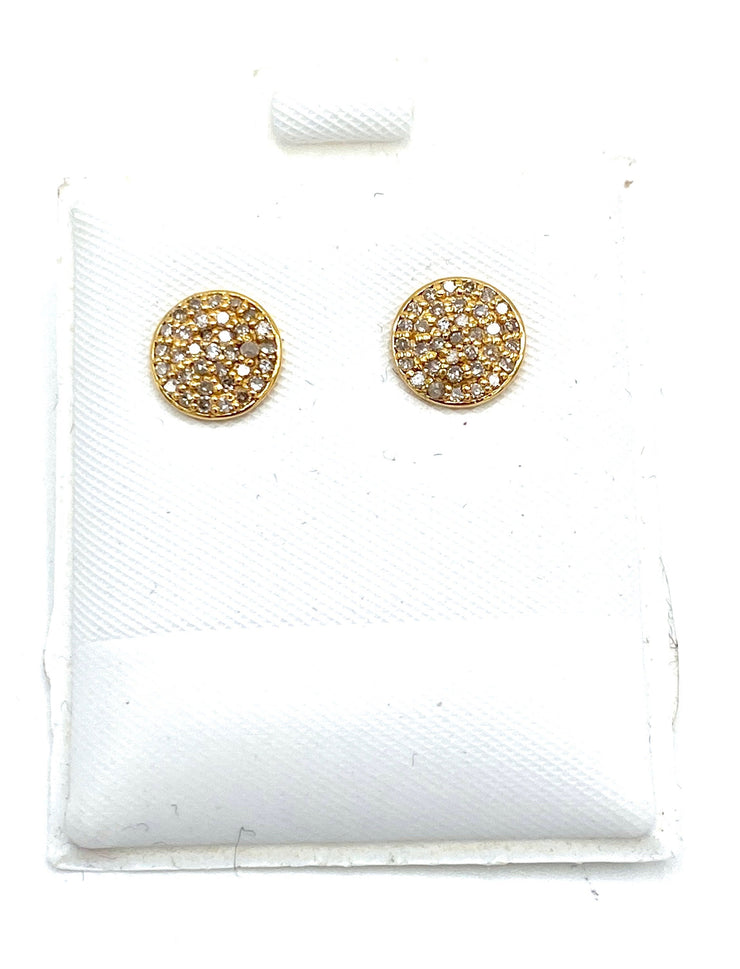 14K Gold Paved Diamond Large Studs - RainTree Boutique