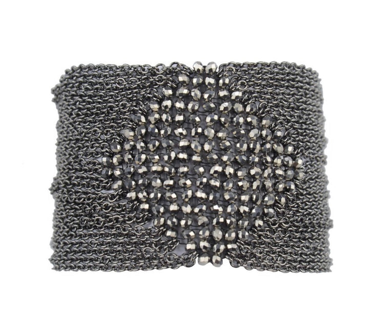 Cella Beaded Chain Cuff with Magnetic Closure