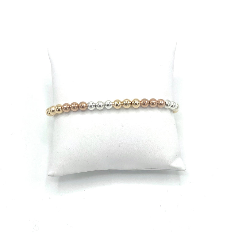 Tri Gold Stretch Bead Bracelet - RainTree Boutique