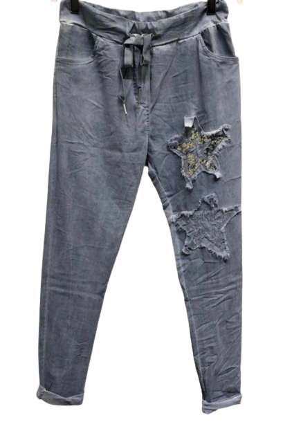 Star Patch Sequin Crinkle Jogger