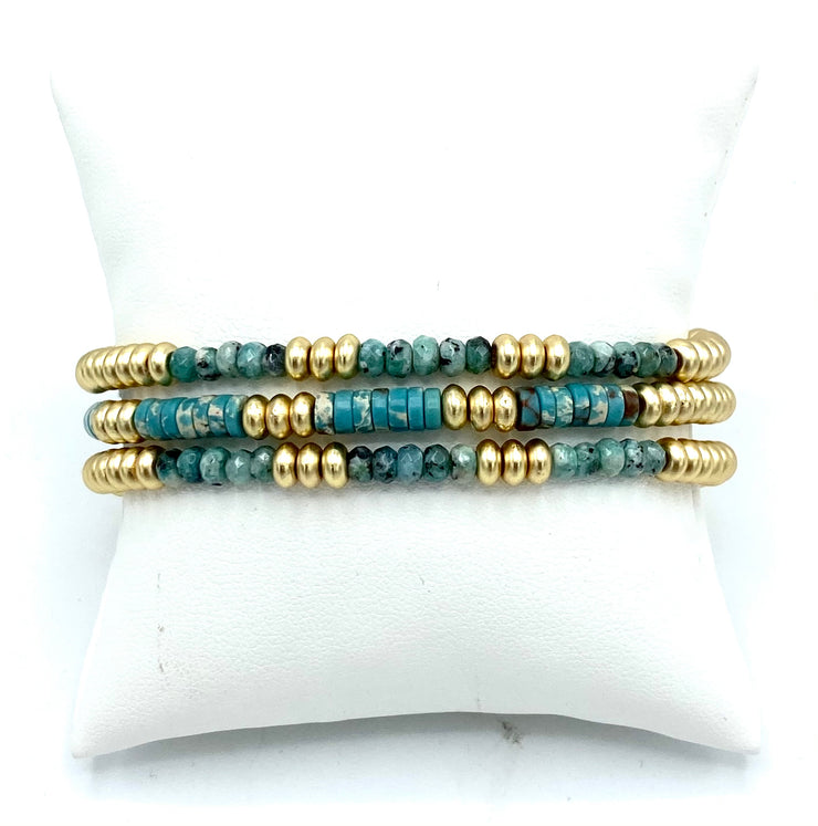 Gold Disc Bead & Turquoise Stretch Bracelets