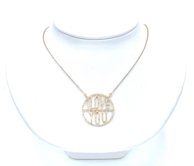 """I Love You"" Round Diamond Necklace"