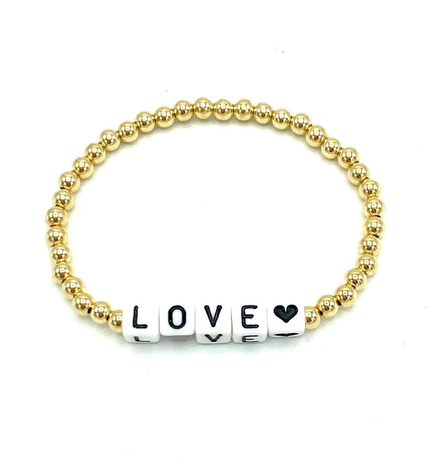 Gold Bead Stretch Bracelet With Love Blocks - RainTree Boutique