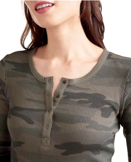 Henley Camo Top