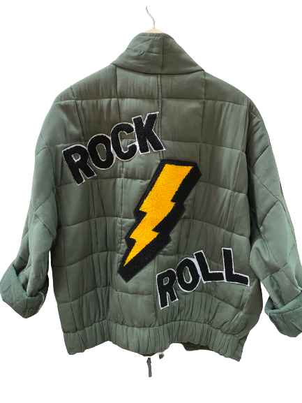Rock N Roll Quilted Bomber Jacket