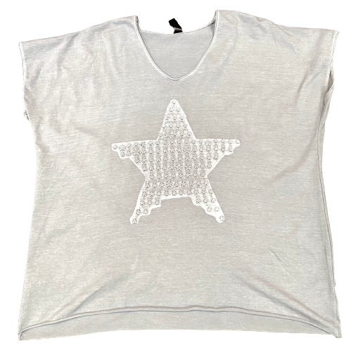 Embossed  Star Oversized V Neck Tee