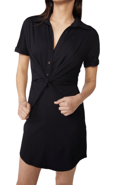 Jersey Tie Front  Shirt Dress - RainTree Boutique
