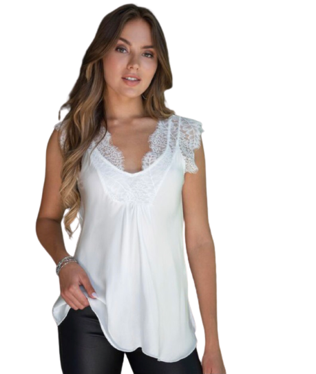 Floral Lace Cap Sleeve Silky VNeck Top