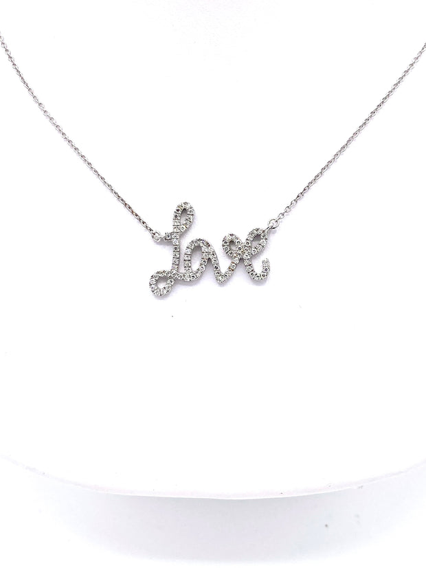 Script Diamond Love Necklace