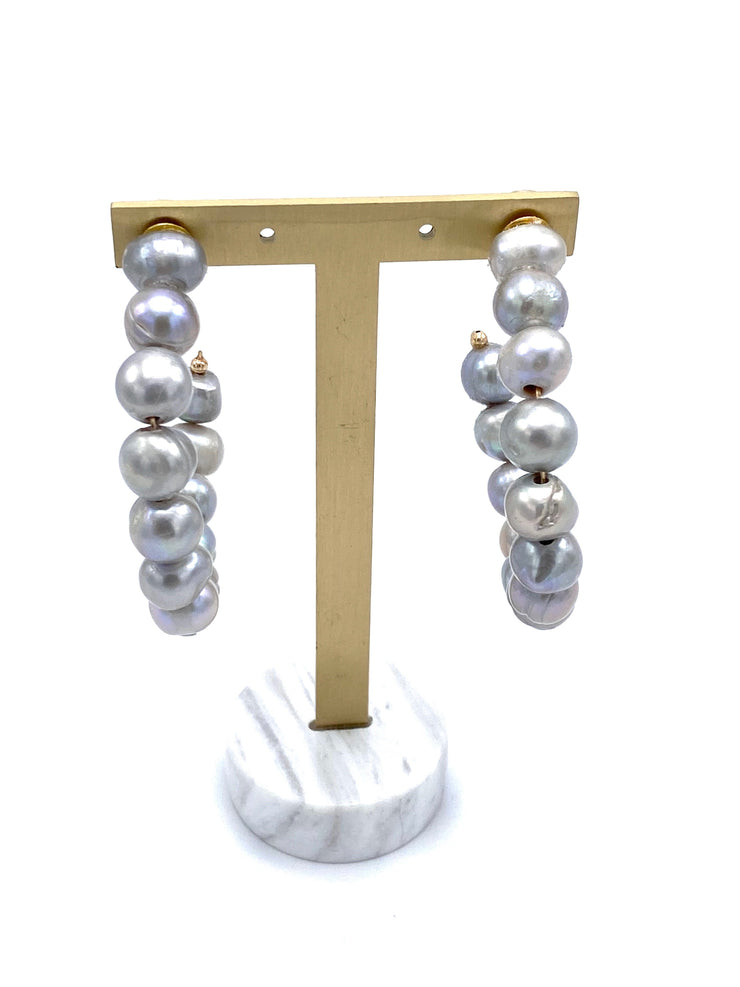 Large Pearl Hoops - RainTree Boutique