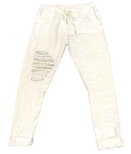 Sequin Stripe Knee Patch Crinkle Jogger