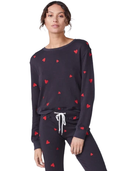 Embroidered Heart Boyfriend Sweatshirt