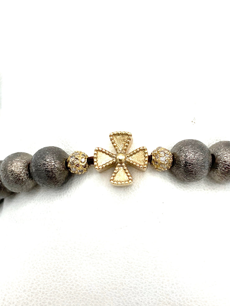 Rhodium Plated Copper Bead Bracelet with 14k Gold Maltese Cross &  2 Diamond Paved Balls - RainTree Boutique