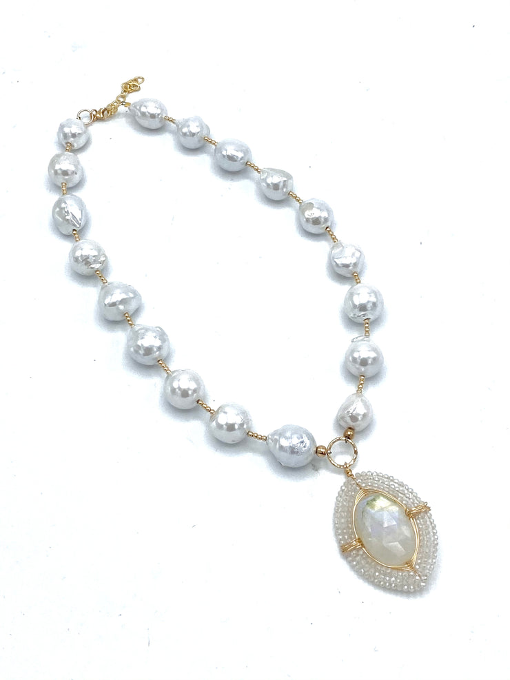 Freshwater Baroque Pearl Necklace with Moonstone Wrapped Pendant