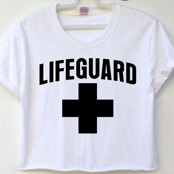 450f7f1ec1f95 Crop Top Lifeguard - White   S - T-Shirts
