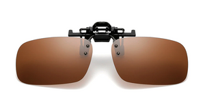 Clip on sunglasses - square brown