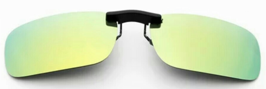 Clip on sunglasses - square yellow/green