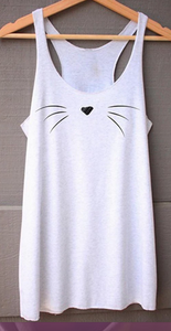 Cat Whiskers Tank Top White