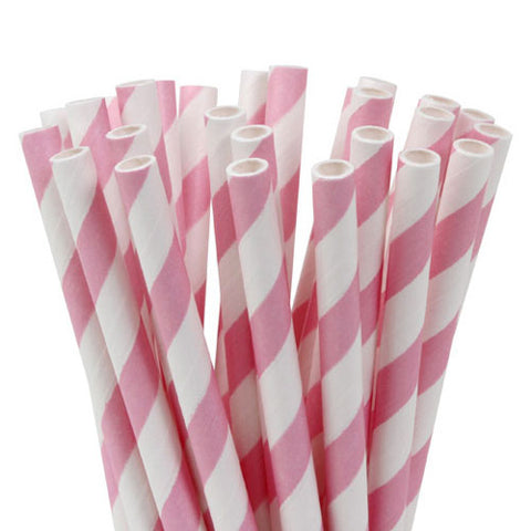 HoM Cake Pops batons / pailles -rayees rose pale- pk/20
