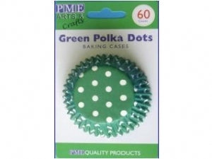 Pme caissettes à cupcakes green polka dots x60 sta