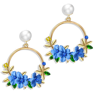 Elegant Fabric Flower Drop Earrings