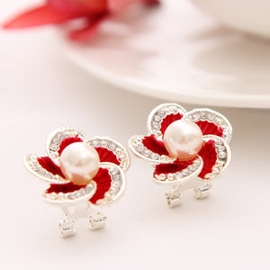 Crystal silver stud flowers pearl earrings