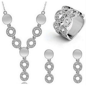 Austrian crystal gold/silver-plated jewelry  set