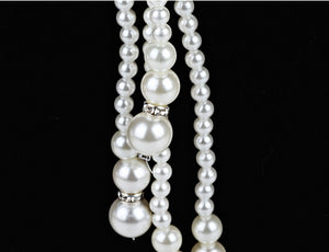 Simulated pearl long necklace